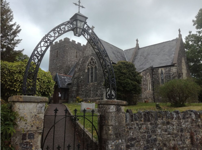 The Church in Dunkeswell that the dog walker will walk past on their entrance to the village